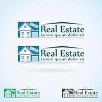 maison avec garage logo immobilier vecteur