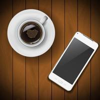 tasse à café avec téléphone portable vecteur