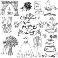 doodles de croquis de mariage isolés vecteur