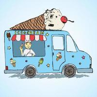 Croquis dessiné à la main camion de crème glacée, couleur déposée et ludique avec le vendeur yang man et cornet de crème glacée vecteur