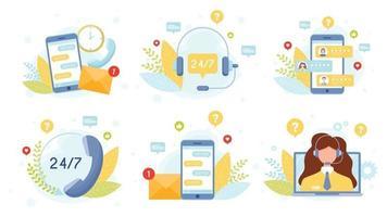 ensemble de concept de service de support client vecteur