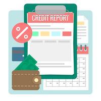 Rapport de crédit vecteur