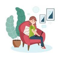 travailler au concept de design à la maison. femme indépendante est assise dans le salon au fauteuil avec un ordinateur portable. illustration vectorielle. vecteur