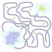 jeu paresseux d'éléphant. labyrinthe. animal de safari vecteur