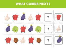 que ce passe t-il après. jeu de légumes. jeu paresseux. éducation des enfants vecteur