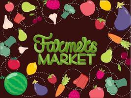 fond de fruits et légumes et lettrage à la main du marché des agriculteurs. illustration vectorielle. concept d & # 39; aliments sains vecteur