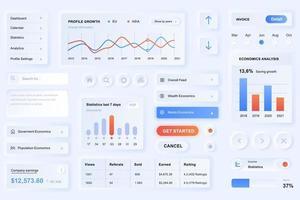 éléments d'interface utilisateur pour l'application d'analyse de données modèle d'éléments d'interface utilisateur de conception neumorphique vecteur