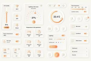 éléments d'interface utilisateur pour application mobile maison intelligente modèle d'éléments d'interface utilisateur de conception neumorphique vecteur
