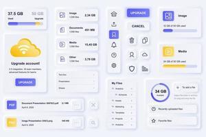 éléments d'interface utilisateur pour le modèle d'éléments d'interface utilisateur de conception neumorphique d'application mobile de technologie cloud vecteur
