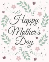 bannière de fête des mères heureuse avec des fleurs, des feuilles et des coeurs. parfait pour les cartes de vœux, les sites Web, les bannières ou les étiquettes. illustration vectorielle. vecteur