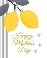 carte de voeux bonne fête des mères avec des citrons. parfait pour les cartes de vœux, les sites Web, les bannières ou les étiquettes. illustration vectorielle. vecteur
