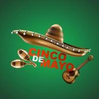 vacances mexicaines cinco de mayo. chapeau de sombrero, maracas et tacos et nourriture de fête. illustration vectorielle. vecteur