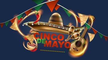 cinco de mayo vacances mexicaines. chapeau de sombrero, maracas et tacos et nourriture festive aux couleurs du drapeau mexicain. illustration vectorielle. vecteur