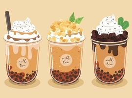 Le service à thé au lait perlé contient des brownies au chocolat et de la crème fouettée garnie d'une sauce au caramel sur un fond pastel. vecteur