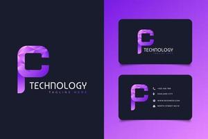lettre initiale p et c logo en dégradé coloré avec concept moderne et futuriste vecteur