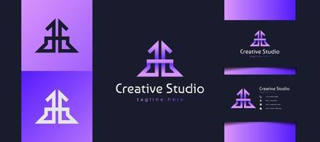 lettre initiale g un logo g avec concept lié. logo monogramme gg en dégradé violet vecteur