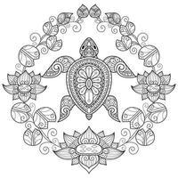tortue et lotus sur fond blanc. croquis dessiné à la main pour livre de coloriage adulte vecteur