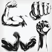 silhouette mma combattant bodybuilder bras pochoir logo dessin vectoriel
