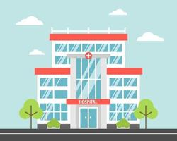 hôpital, un établissement médical de la ville moderne. image vectorielle dans un style cartoon plat vecteur