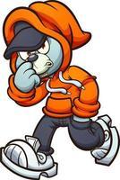 ours en peluche gris avec capuche orange marchant. illustration vectorielle clip art avec des dégradés simples. vecteur