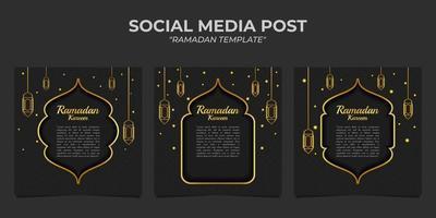 post sur les médias sociaux ramadan kareem temaplate vecteur