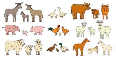 jolies familles d'animaux de ferme isolés sur fond blanc. vecteur dessin animé contour doodle animaux collection âne oie vache bœuf cochon porc poule poule coq chèvre mouton canard cheval pour enfants livre