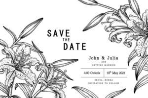 fleur de lys aux rayons dorés ou lilium auratum illustrations botaniques dessinées à la main. modèle de carte d'invitation vecteur