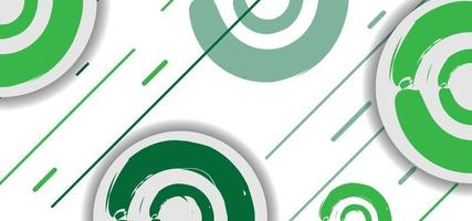 cercles géométriques verts et lignes transparente motif ou arrière-plan vecteur