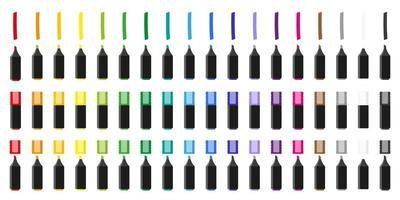 ensemble d'illustrations de dessin animé de vecteur avec des marqueurs de surligneur colorés sur fond blanc.