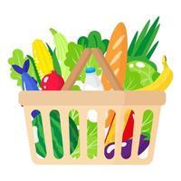 illustration de dessin animé de vecteur de panier d & # 39; épicerie de supermarché avec des aliments biologiques sains isolé sur fond blanc