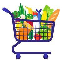 Illustration de dessin animé de vecteur de chariot d'épicerie de supermarché avec des aliments biologiques sains isolé sur fond blanc