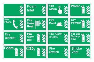définir le panneau de signe de symbole de feu sur fond blanc, illustration vectorielle vecteur
