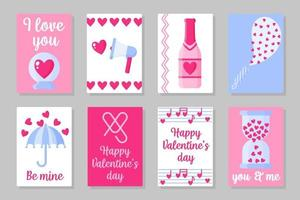 ensemble de cartes colorées roses, blanches et bleues pour la Saint-Valentin ou le mariage. design plat de vecteur isolé sur fond gris
