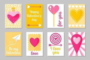 ensemble de cartes colorées roses, blanches et jaunes pour la Saint-Valentin ou le mariage. design plat isolé de vecteur