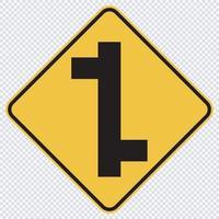 Panneau de signalisation de trafic de jonction décalée vecteur