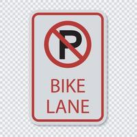 Aucun signe de piste cyclable de stationnement vecteur