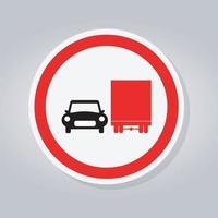 interdire le camion ne pas dépasser le panneau de signalisation de trafic vecteur