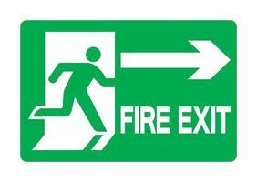 Panneau vert d'urgence de sortie de secours vecteur