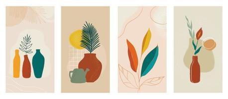 histoires de médias sociaux ensemble d'arrière-plans modernes abstraits avec des plantes en pot. combinaisons de couleurs pastel, formes et palmiers tropicaux, feuilles, lignes. vecteur