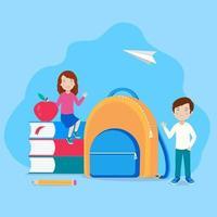 écoliers, livres, sac à dos, pomme, crayon, étudiant garçon et fille avec fournitures d'étude. retour au modèle de bannière d & # 39; école avec un fond abstrait moderne. vecteur
