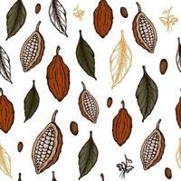 modèle sans couture de fèves de cacao. illustration dessinée à la main de croquis de style gravé. haricots de cacao au chocolat, feuilles, graines, fleurs et noix. vecteur