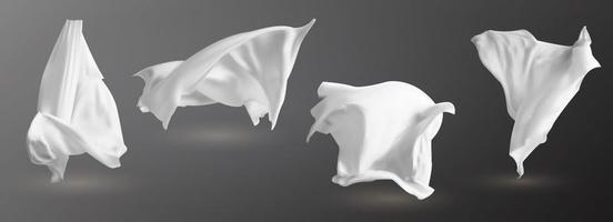 ensemble de chiffons blancs flottants réalistes, matériau clair doux et léger isolé sur illustration vectorielle fond sombre vecteur