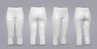 maquette de leggings femmes en vue avant et arrière, isolé sur fond gris. Illustration vectorielle réaliste 3d vecteur