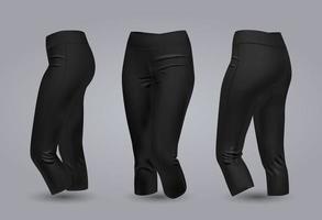 maquette de legging noir femme en vue avant et arrière, isolée sur fond gris. Illustration vectorielle réaliste 3d vecteur
