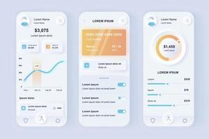 kit de conception d'application mobile néomorphe unique pour les services bancaires en ligne vecteur
