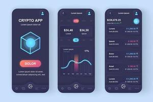 kit de conception d'application mobile néomorphique unique de trading de crypto-monnaie vecteur
