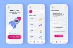 kit de conception d'application mobile néomorphique unique de marketing numérique vecteur