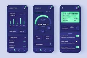 kit de conception d'application mobile néomorphe unique pour services financiers vecteur