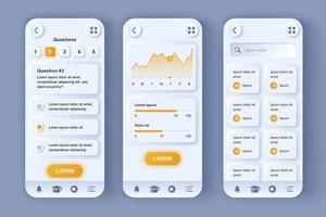 plate-forme d'apprentissage en ligne kit de conception d'application mobile néomorphique unique vecteur