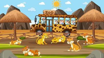Safari à la scène de jour avec de nombreux enfants regardant un groupe de léopard vecteur
